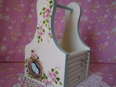 Wood Tote Hand Painted Shabby Chic Pink Roses Love this too!
