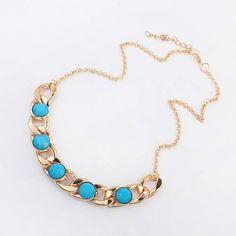 COLLAR TRENNDY, Bonito y original collar dorado en cadena y azul. collar de moda perfecto para temporada complementos de moda