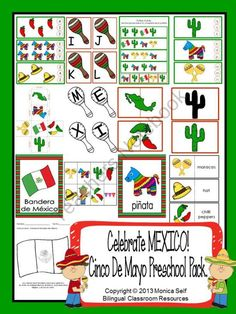 Celebrate MEXICO! Cinco De Mayo Preschool Pack from Bilingual Resources on TeachersNotebook.com (105 pages)