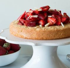 Gluten-Free Almond Cake with Strawberries - foodista.com