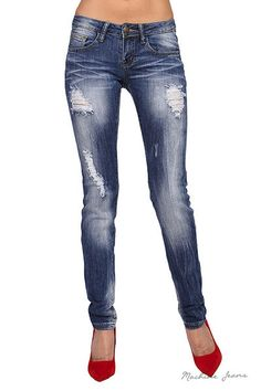 """You have been asking for skinny denim and we fell in love with the low rise skinny jeans with distressed worn look! Low rise. Cotton/Spandex Blend. Imported. Inseam is 32"""". These are a true skinny jea"""