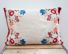Vintage Floral Embroidered Tan Pillow Mid Century by Heirrahome, $36.00