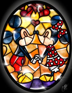 Stained Glass Mickey and Minnie by CallieClara.deviantart.com on @DeviantArt