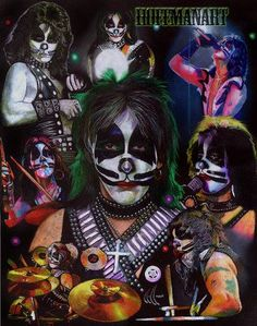 Peter Criss of Kiss, I was commissioned to do this a few weeks back. It somewhat matches a previous series of these I did years back, they are in my gallery as well. Original is x prismacol. Paul Stanley, Gene Simmons, Power Metal, Death Metal, Kiss Members, Kiss Rock Bands, Rock Y Metal, Kiss Me Love, Harley Davidson Art