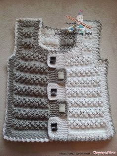 Two-tone baby vest pattern Baby Knitting Patterns, Baby Boy Knitting, Knitting For Kids, Crochet For Kids, Lace Knitting, Knitting Designs, Baby Patterns, Knitting Projects, Crochet Patterns