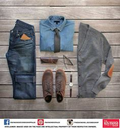 Winter dressing is all about having chic outwear !  Like, comment and share if you would wear this ensemble :)   #Raymond #Chic #Outwear #Winters #layering #DenimOnDenim #Shoes #Watch #Glares #Necktie #Cardigan #Jeans #Style #Fashion