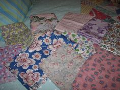 VINTAGE LOT OF 10 FABRICS 1930's 40's 50's 60's COTTON FEDSACK TYPE FLORAL PINK