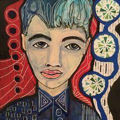 Lisa Lieber mixed media blue boy