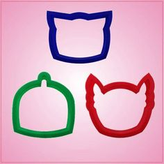 """Our Cartoon Mask Cookie Cutter Sets include 3 different designs, each made out of plastic. Cleaning instructions: hand wash, towel dry. Buy your set today! Blue Cartoon Mask - just over 2-1/2"""" tall, 3"""