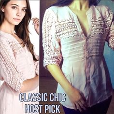 Blush Crochet Accent Tie Back Waist Blouse This stunning blush blouse is by far one of my favorites right now! You can control how snug or loose you want it with the tie back waist. This material is soft and lightweight and perfect for Spring! Has full button down closure, crochet accents on sleeves and shoulders. Fits true to size. Have in S (2-4) M (6-8) L (10-12) you may purchase this listing as I've created individual listings for each item. Price is firm unless bundled. Made of 100%…
