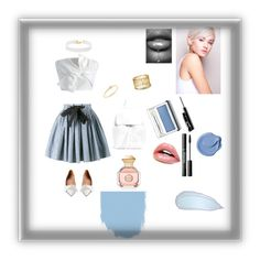 """""""Beautiful stripes and blue"""" by reebee918 ❤ liked on Polyvore featuring Miu Miu, Marni, Chicwish, Tory Burch, Clinique, Vanessa Mooney and Sydney Evan"""