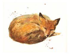 Print FOX, fox aquarelle, prêt à fox de trame, Art de la FOX, cadeau amoureux fox
