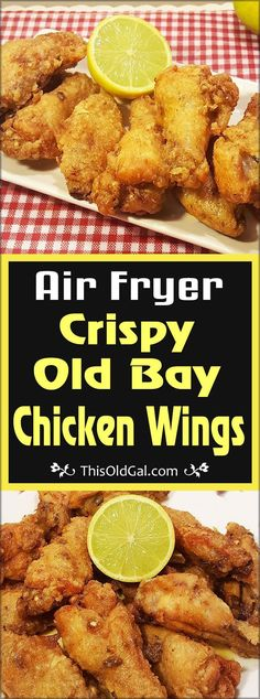 Savory Air Fryer Crispy Old Bay Chicken Wings are crunchy, mildly spicy and full of flavor. Serve them up with a warm Lemon Butter Sauce for dipping. via @thisoldgalcooks
