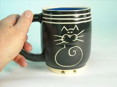 Cat Black and White with GREAT handle by epgoldenberg on Etsy, $42.00