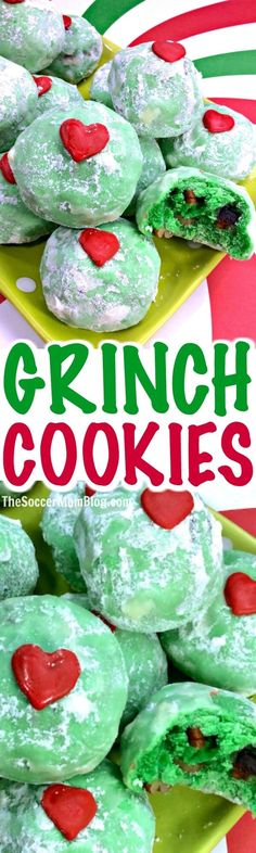 So festive even the grumpiest of grinches will have to smile! These Grinch Snowball Cookies are a colorful twist on a classic Christmas treat! #ChristmasCookies #Grinch
