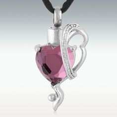 Purple Newlin Heart Stainless Steel Cremation Jewelry-Engravable