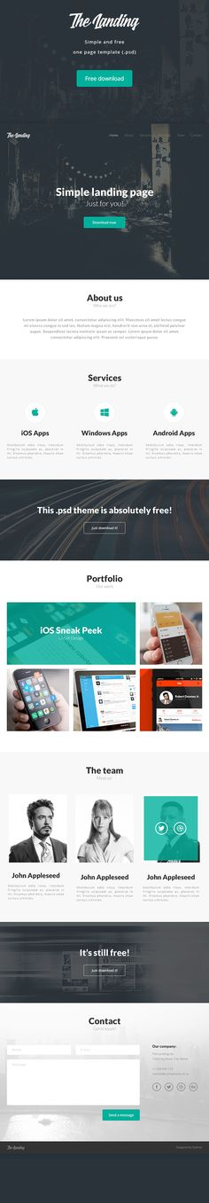 TheLanding theme (free .psd) on Behance