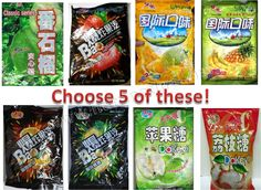 Mixed Assortment of your choice. Choose 5 bags of Chinese Hard Candies (Choose your Flavors)