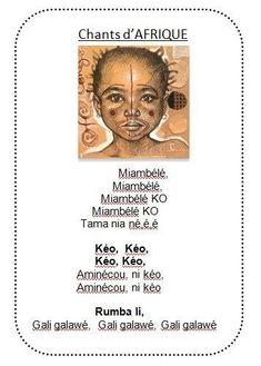 Voici le texte des 3 petites chansons à gestes. Le dessin est celui de Stéphanie LEDOUX. Son travail est magnifique. J'utilise ses portraits d'enfants pour les travaux d'arts plastiques en classe. Vivi Chant, Art Plastique, Madagascar, African Art, Continents, Teaching, Songs, Voici, Portraits