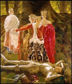 Four Queens Find Lancelot Sleeping - Frank Cadogan Cowper