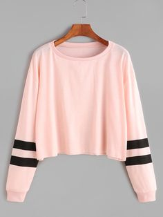 Negozio Rosa Varsity manica a righe Crop T-shirt on-line. SheIn offre Rosa Varsity manica a righe Crop T-shirt & di più per soddisfare le vostre esigenze di moda.