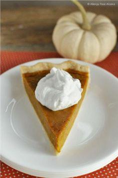 Gluten & Dairy Free Maple Pumpkin Pie from Allergy Free Alaska {25 Thanksgiving Dessert Recipes from OneCreativeMommy.com}