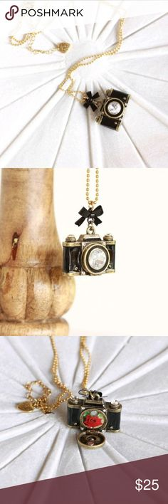 Betsey johnson camera necklace Betsy johnson camera pendant necklace.  The lens has a magnet and folds open.  It has a picture of a rose inside. Betsey Johnson Jewelry Necklaces