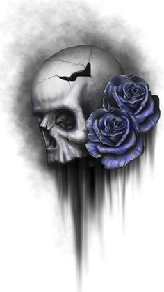 Skull with blue roses