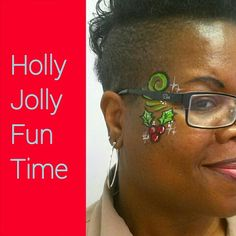 Holiday Holly face painting for Holiday Party fun, Dallas Face Painter