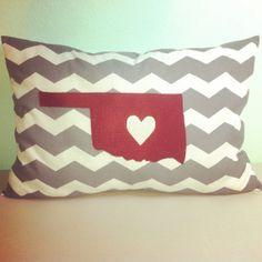 Appliquéd Chevron Oklahoma State Pillow by 2CuteCrafts4U on Etsy, $22.00