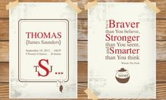 Winnie the Pooh Inspired Birth Announcement and Quote for a Baby Girl or Boy's Nursery - Set of 2 Prints 5% Discount. $28.50, via Etsy.