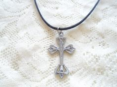 Cross necklace Pendant necklace Lariat necklace by OneOfferJewelry