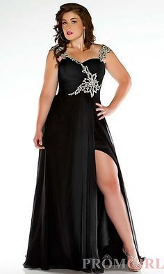 Long black prom dresses for bigger girls