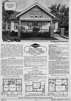 https://flic.kr/p/2muMR1 | Sears Conway Kit Home | Sears Modern Home - The Conway. 1928 Catalog. A 1.5 story, cross gabled Bungalow. See the Floor plan of the Conway Kit House.