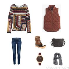 Street Style Mix Including East Sweater Red Vest Jeans And Brown Boots From November 2015 #outfit #look