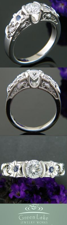 Custom diamond and palladium ring with sapphire accented Easter lilies