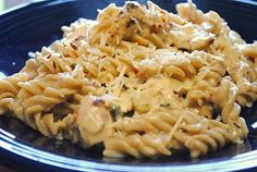 HOLY MOLY it was good! Crockpot Italian Chicken: 4 chicken breasts, 1 packet Zesty Italian dressing seasoning, 1 8 oz. cream cheese (softened), 2 cans cream of chicken soup; Cook on low for 4 hours. If sauce is too thick, add a little milk. Serve over pasta. Wowzers!.