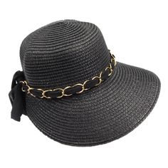 Sheer scarf looped through gold chain links. Bow in back. Down sloping wide band, disappears toward back. One size. Summer Hats For Women, Cloche Hat, Gold Chains, Chain Links, Style Inspiration, Band, Elegant, Crown, Paper
