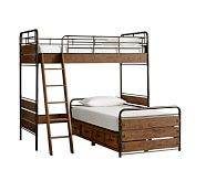 Owen Loft Bed & Twin Platform Bed, Sand Washed Taupe