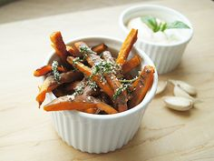 Basil sea salt sweet potato fries with garlic aioli.