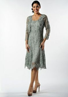 Mother of the Bride dress. Soulmates Crochet Beaded Silk Lace Fit-n-Flare Tea Length 2 pc Jacket Dress (Missy, Plus Sizes) Mother Of Groom Dresses, Mothers Dresses, Mother Of The Bride, Tea Length Wedding Dress, Tea Length Dresses, Mob Dresses, Formal Dresses, Bride Dresses, Wedding Dresses