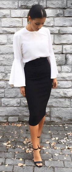 classic white and black outfit