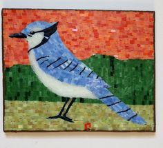 Bluejay Mosaic 8A3B36 by LachanceGlassMosaic on Etsy