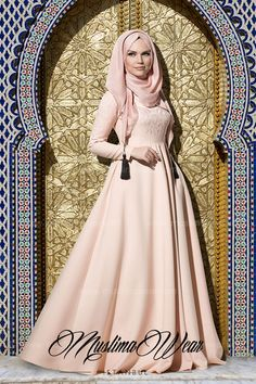 7edcce7403ad7 Muslima Wear Collection Maxi Dress in poudre color with silk embroidery on  chest and sleeves Wide cut