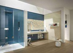 Colore pareti bagno - Bagno dai colori blu e beidge