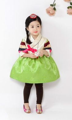 Korean Girl's Hanbok Lime Green Mini Dress Size 3 to 7