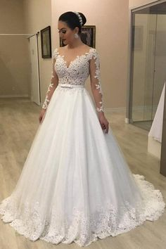 Long Sleeves Plus Size Wedding Gown with Sheer Lace Bodice Long Sleeves Plus Size Brautkleid mit Sheer Lace Mieder White Lace Wedding Dress, Elegant Wedding Dress, Perfect Wedding Dress, Tulle Wedding, Gown Wedding, Trendy Wedding, Wedding Bells, Civil Wedding, Backless Wedding