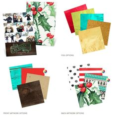 This new Christmas card from Pear Tree offers 5 foil color options, 4 backgrounds and 4 patterned backers!