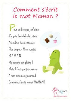 Comment-s-ecrit-le-mot-MAMAN. French Poems, Mather Day, French Classroom, French Lessons, Mothers Day Crafts, Learn French, Anchor Charts, Kids Learning, Happy Life