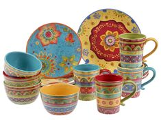 Certified International 73455 Tunisian Sunset 16 pc Set, Service for 4 Dinnerware, Dishes, Multicolored Stoneware Dinnerware Sets, Porcelain Dinnerware, Casual Dinnerware, Dessert Bowls, Ceramic Clay, Ceramics, Crafty, Dishes, Things To Sell